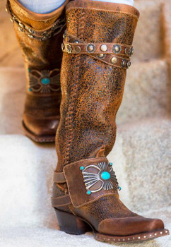 DDL003-1 DOUBLE D RANCH BOW GUARD DISTRESSED BROWN BOOTS