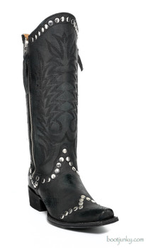 "L 598-17 OLD GRINGO ROCKRAZZ 13"" BLACK COWGIRL BOOTS"