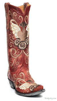 "L 639-3 OLD GRINGO GRACE 13"" RED EMBROIDERED COWGIRL BOOTS"