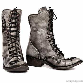 BL1292-3 OLD GRINGO TRAVELER DISTRESSED GREY LEATHER BOOTS CUSTOM ORDER
