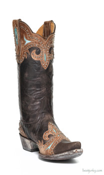 "L 814-1 OLD GRINGO TAKA 13"" CHOCOLATE / ORYX STUDDED COWGIRL BOOTS"