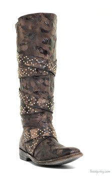 "L1066-1 OLD GRINGO QUEENTIA 16"" SWAROVSKI CRYSTAL CHOCOLATE GALAXIA LEATHER  BOOTS"