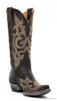 "L1265-1 OLD GRINGO DIEGO STUD  13"" CHOCOLATE COWGIRL BOOTS"