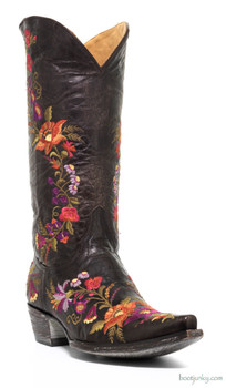"L1286-1 OLD GRINGO JASMINE 13"" EMBROIDERED CHOCOLATE COWGIRL BOOTS"