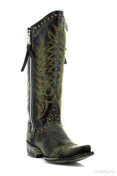 """L1360-4-SS OLD GRINGO ROCKSTAR BLACK YELLOW 13"""" COWGIRL BOOTS"""