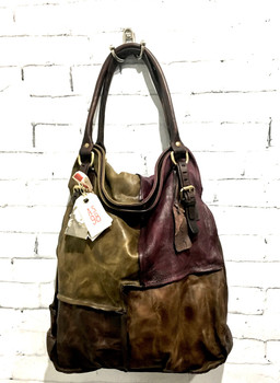 AS98 MAC ITALIAN LEATHER LUXURIOUS FALL COLORS PATCHWORK HANDBAG