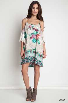 A1387 UMGEE Bohemian Cowgirl Floral Print Cold Shoulder Dress
