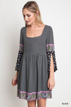 A1415 UMGEE Bohemian cowgirl Square Neck Print Dress with Split Bell Sleeves Black