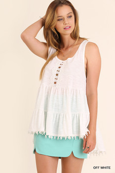 C0091 UMGEE Bohemian Cowgirl Sleeveless High Low Tunic with Pom Pom Trim Hemline  Off White