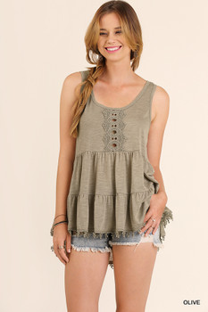 C0091 UMGEE Bohemian Cowgirl Sleeveless High Low Tunic with Pom Pom Trim Hemline Olive