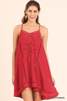 C0101  UMGEE Bohemian Cowgirl Embroidered A-Line Tank Dress Chilli Powder