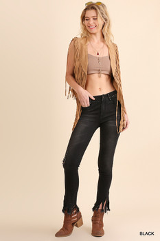 C0399 UMGEE Bohemian Cowgirl Pants with Pockets and Ripped Detail Black