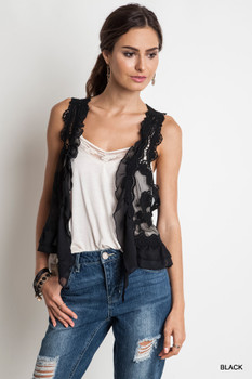 UM3096 UMGEE Bohemian Cowgirl Knit Crochet Vest Black