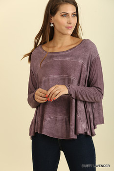 C0827 UMGEE bohemian Cowgirl Mineral Washed Top with Ruffled Hem Lavender