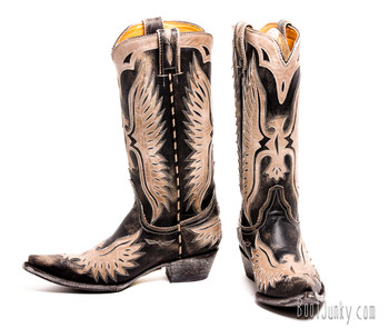 "L 105-132 OLD GRINGO EAGLE BLACK BEIGE BONE 13"" BOOTS CUSTOM ORDER"
