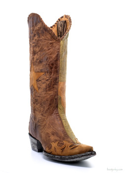 L1416-3-SS OLD GRINGO SPIRIT OF TEXAS BRASS/MILITARY GREEN COWGIRL BOOTS
