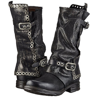 AS98 SAINTEC STOCKTON BLACK EMBELLISHED LEATHER WOMEN'S BOOTS