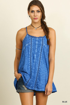 A2432 UMGEE Bohemian Cowgirl Sleeveless Washed Tunic Top Blue