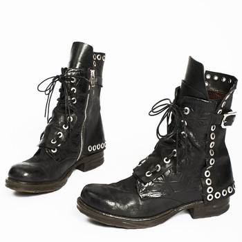 AS98 SHERMAN LUCAS LACE UP BLACK EMBELLISHED LEATHER WOMEN'S BIKER BOOTS