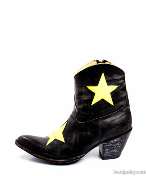 "L1170-1-SS OLD GRINGO MERCEDES 7"" BLACK YELLOW ANKLE BOOTS"