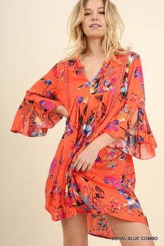 G1099 UMGEE Bohemian Cowgirl Floral Baby Doll Dress with Bell Sleeves Coral/Blue
