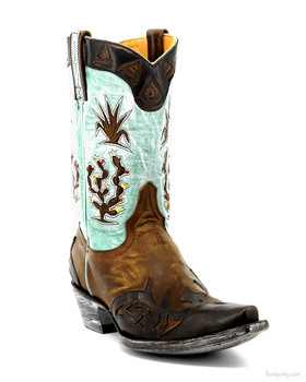 L 412-39-SS OLD GRINGO CACTUS BRASS / AQUA COWGIRL BOOTS