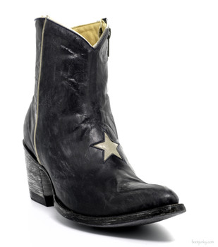 BL0958-21-SS OLD GRINGO BLUE JEAN / BONE LEATHER ANKLE BOOTS
