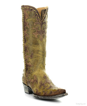 "L1414-2-SS OLD GRINGO WIDOW MAKER 13"" MILITARY GREEN / BRASS COWGIRL BOOTS"