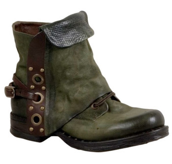 AS98 SCANLON JUNGLE GREEN COMBAT STYLE ANKLE LEATHER BOOTS