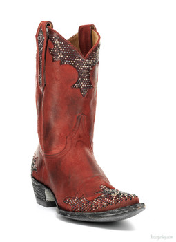 "L1270-3-SS OLD GRINGO PORFINA RED BEADED 10"" LEATHER COWGIRL BOOTS"