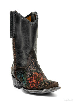 "L1607-2 OLD GRINGO FLOR TOOL 10"" SNUFF HAND TOOLED COWGIRL BOOTS"
