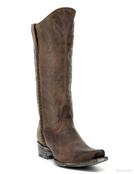 "L1657-1-SS OLD GRINGO RAZZ LACE 13"" CHOCOLATE COWGIRL BOOTS"