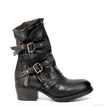 "AS98 CHILLY-101 NERO BLACK  8"" LEATHER ANKLE BOOTS"
