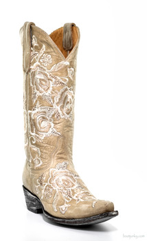 "L1708-3-SS OLD GRINGO ROSE HOT 13"" BONE COWGIRL BOOTS"