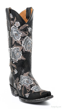 "L1708-4-SS OLD GRINGO ROSE HOT 13"" BLACK EMBROIDERED COWGIRL BOOTS"