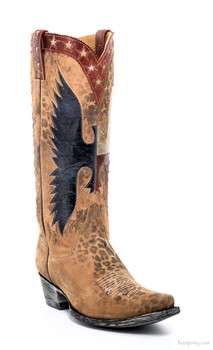 "L1820-2-SS OLD GRINGO WHERE EAGLES FLY BUG 13"" OCHRE/BLUE/RED/BONE COWGIRL BOOTS"
