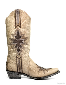 """L1913-5-SS OLD GRINGO QUANAH 13"""" BONE / CHOCOLATE LEATHER INLAY COWGIRL BOOTS"""