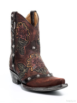 "L1989-1-SS OLD GRINGO JAZMIN 8"" BROWN HANDTOOLED COWGIRL BOOTS"