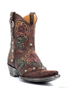 "L1989-2-SS OLD GRINGO JAZMIN 8"" BRASS HANDTOOLED COWGIRL BOOTS"