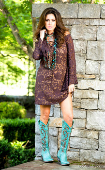 10. BRONTE COLLECTION SABRINA CHOCOLATE BROWN TUNIC COWGIRL DRESS