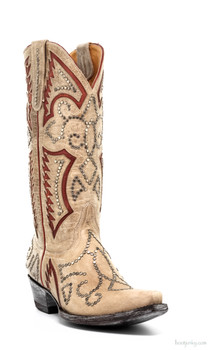 "L2000-1-SS OLD GRINGO TRUENO 13"" BONE/RED STUDDED COWGIRL BOOTS"