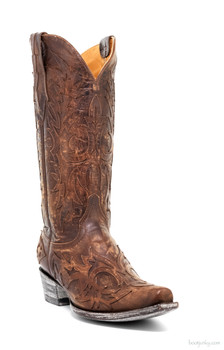 "L2028-4-SS OLD GRINGO VIRGINA 13"" BRASS LEATHER INLAY COWGIRL BOOT"