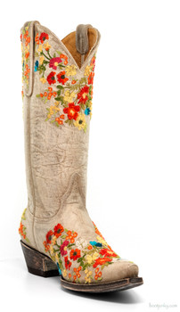 "L2048-2-SS OLD GRINGO FLORA 13"" BONE EMBROIDERED COWGIRL BOOTS"