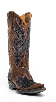 "L2181-3-SS OLD GRINGO DIEGO INLAY SWAROVSKI 13"" NUVULARIS BROWN / BLACK COWGIRL BOOTS"