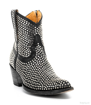 L1042-1 OLD GRINGO AGUJAS BLACK RIVETED BLACK ANKLE BOOTS