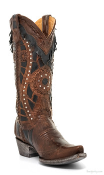 "L2198-2-SS OLD GRINGO RARAMES 13"" BRASS / BLACK LEATHER FRINGED COWGIRL BOOTS"