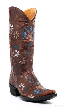 "L2209-5-SS OLD GRINGO JENNY 13"" EMBROIDERED COGNAC COWGIRL BOOTS"