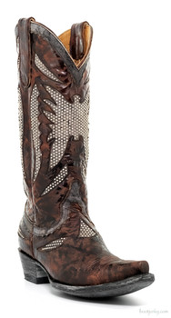 "L2240-1-SS OLD GRINGO EAGLE BLACK STUD 13"" LEATHER COWGIRL BOOTS"