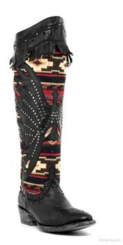 "L2244-1-SS OLD GRINGO SANJUANERA 18"" BLACK AZTEC DESIGNED WOMEN'S BOOTS"