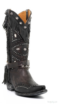 "L2249-1-SS OLD GRINGO BUHO 13"" CHOCOLATE / BLACK FRINGE COWGIRL BOOTS"